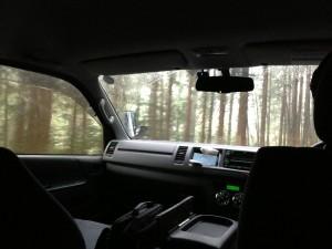 ハイアットリージェンシー箱根のマイクロバスでホテルへ向かいます。