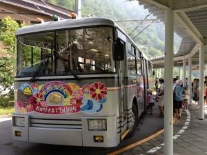 トロリーバスは普通のバスだけど、屋根に大きな集電装置があり、電気だけで走ります。