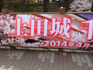 上田城に行った時、ちょうど「上田城千本桜まつり」が催されており、それで人が多かったんですね。