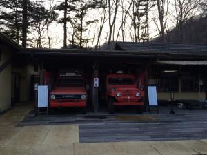 レトロな消防車がお出迎えしてくれました。