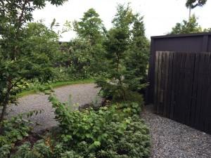 こちらがその庭。離れにはこんなに広い庭が付いていて開放感があります。