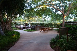 アウラニのバーベキューエリアには、グリルピット4箇所、6人ほどが座れるテーブルが2箇所あります。