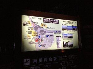 こちらは五合目の案内板。今回は富士吉田口からの登山です。