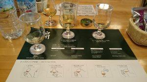 今回のメイン、白州の主な構成原酒と製品「白州」の比較です。
