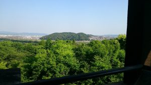 テラスから。正面に見える山は、石清水八幡宮がある男山です。